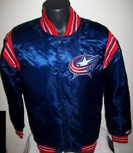 COLUMBUS BLUE JACKETS NHL STARTER Satin Snap Down Traditional Jacket S L XL 2X