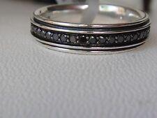 $1100 DAVID YURMAN SS MENS BLACK DIAMOND RING