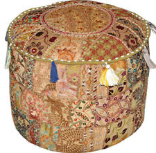 Vintage pouf Ottoman Moroccan Embroidered Footstool Decorative Tuffet Bean Bag