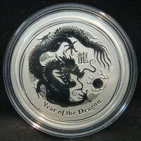 2012 Year of the Dragon 1/2 oz Silver Coin Australia Perth Mint Lunar Series Two