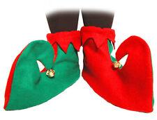 Adultos verde rojo bufón Elf Botas Zapatos Con Campanas de Navidad Elaborado Vestido Disfraz