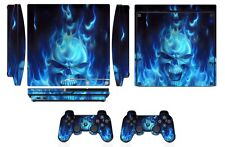 Skin Sticker Cover PS3 PlayStation 3 Slim and 2 controller skins Blue Fire Q256