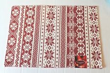 St Nicholas Square Fair Isle Tapestry Set of 4 Red & Ivory Christmas Placemats