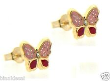 9ct Gold Red Pink Glitter Enamel CZ Butterfly Insect Stud Earrings B'day GIFTBOX