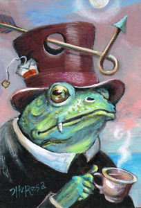 ACEO Original art NFAC Tea Frog Monster teacup hat teabag arrow TBARTSARTIST