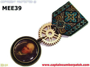 Steampunk Medal pin drape badge brooch James Watt scot inventor engineer #MEE39
