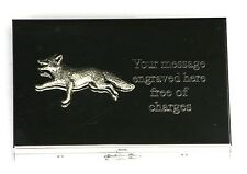 Fox Running Emblem Card Holder with Built in calculator FREE ENGRAVING Gift