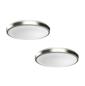 DYMOND Dimmable LED Ceiling Light Flush Mount Fixture Modern Silver Ring 2-PACK