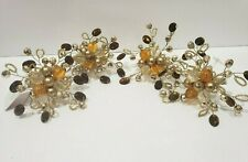 ThanksgivPier 1 Napkin Ring Amber Jeweled Cluster Beaded Spray Gold NWT Set of 4