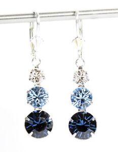 Silber Ohrringe mit Swarovski® Kristallen Hellblau Blau mit Schmuck Box