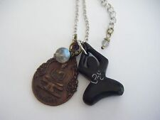 Spiritual Inspirational Vintage Buddha Necklace Thai Monk Blessed OM Labradorite