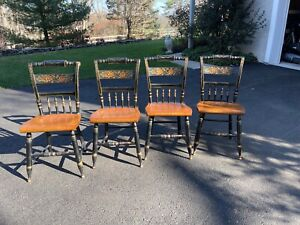 Set of four  Vintage L. Hitchcock Black Harvest Inn Solid Maple Dining Chairs