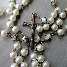 Vintage Pearl and Enamel FLower Bead Rosary Bead Necklace