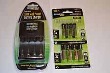 THUNDERBOLT MAGNUM SLIM WALL MOUNT BATTERY CHARGER with 4 AA and 4 AAA BATTERIES