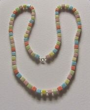 """SINGLE STRAND multi coloured OPAQUE GLASS BEAD NECKLACE 30"""" PRL CZECH PASTELS"""