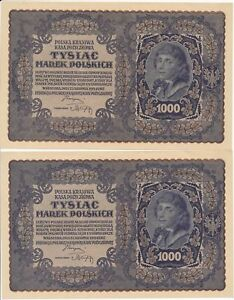 RC0241 Poland 1919 1000 Marek Polskich 2 consecutive notes AU combine shipping