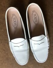 """TOD""""S Women's Gommino Driving Shoes in White Patent Leather 38.5"""