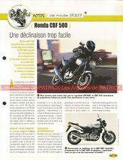 HONDA CBF 500 2007 CB 500 F Joe Bar Team Fiche Moto #003296