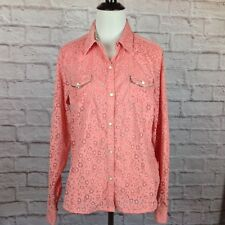 Cowgirl Up Top Womens Medium Western Pink Mesh Floral Silver Sparkle Pockets