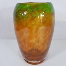 Vintage Large 23.5cm High Monart Art Glass Vase Orange And Green