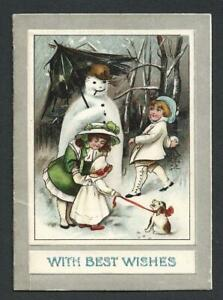Y24 - CHILDREN, DOG AND SNOWMAN - VINTAGE FOLDING XMAS CARD