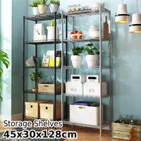 US 5 layers Metal Kitchen Rack Holder Storage Shelf Organizer Net Hook PP Mat °