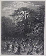 """Doré-Londres; 'un Chiswick Fete"""", grabado antiguo madera original, C.1870"""
