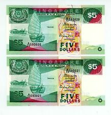 Singapore ... P-19 ... 5 Dollars ... ND(1989) ... *UNC* ... Consecutive Notes