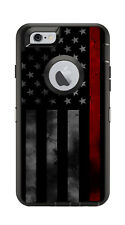 Skin Decal Wrap for Iphone 6 6S Otterbox Defender Case Thin Red Line Firefighter
