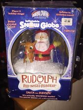 GEMMY AIRBLOWN INFLATABLE SNOW GLOBE SANTA AND RUDOLPH THE RED NOSE REINDEER