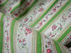 Vintage 1930s FABRIC - ZIPPERED PILLOW COVERS tiny pink rose garlands  MINT GRN