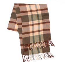 100% Cashmere Plaid Brown Green Beige Fringed Scarf /8506