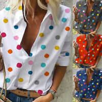 Women Tops Casual Long Sleeves Loose Dot Print Deep V Neck Blouse T-shirt