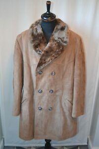 Vintage C&A  Canada suede faux fur collar western car coat size XL winter warm