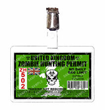 Zombie United Kingdom Hunting Permit ID Badge Cosplay Prop Comic Con Comic Con