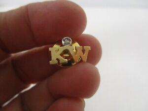 SIGNED C M/J 14K YELLOW GOLD MEN'S TIE TACK ~ MONOGRAM KW with DIAMOND