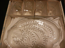 Federal Glass Homestead Wheat Design Sandwich Dessert Plate Cup Boxed Set