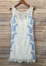 BUTTONS Anthropologie white blue lace embroidered Boho dress size 1 small