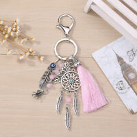 Dream Catcher Silver Metal Keyring Pink Feather Tassel Bag Pendant Keychain Gift