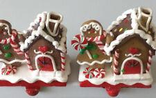 Ceramic Gingerbread House Stocking Holders Set Of 2