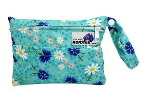 Mini Double Zip Wet Bag for cloth wipes breast pads mumma cloth - Daisy Fields
