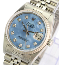 Rolex Datejust Unisex 16234 SS Blue MOP Dial 18K Gold Fluted Jubilee Band 36mm