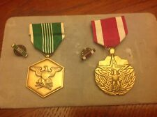 Meritorious Service Medal And Military Merit Medal With Lapel Pins