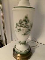 "VINTAGE White Satin Glass Table Lamp Hand Painted Green Landscape Scene 36"" TALL"