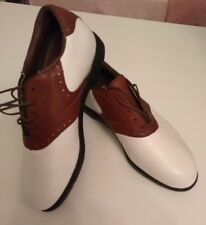 REEBOK LADIES BROWN & WHITE LEATHER GOLF SHOES SIZE UK 5.5 EUR 38.5 NEW