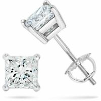 1 ct. White Sapphire Princess Screw Back Stud Earrings - 14k White gold/Silver