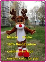 Reindeer Mascot Costume Suit Cosplay Party Game Dress Outfit Halloween Adult