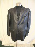 "Mens Leather Coat Jeff Banks size XL, black, chest 46"", length 33"", vgc 0552"