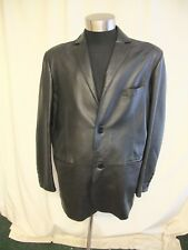 "Mens Leather Coat Jeff Banks size XL, black, chest 46"", length 33"", vgc 0552"