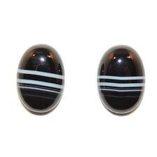Black and White Agate 10x14mm with 4.5mm dome Cabochons Set of 2 (11758)